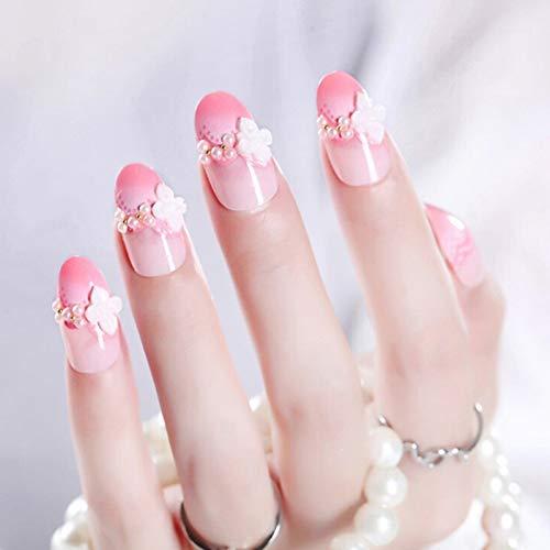 QULIN Faux ongles Pack Paillettes Faux Ongles Autocollant Nail Art Decal Acrylique De Mariage De Mariée Faux Ongles Conseils Autocollant Set Avec De La Colle 24pcs