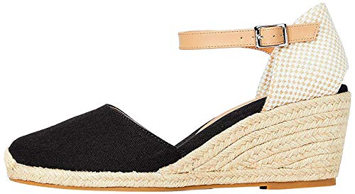 Marca Amazon - find. Wedge Close Toe Canvas Sandalias con cuña Tipo Alpargatas, Negro (Black), 36 EU
