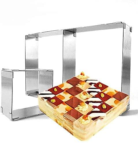 Tebery 2 Stück Tortenring Rechteckig Verstellbar, mit Teilern, Backrahmen Ausziehbar, Backform eckig verstellbare Backformen für Kuchen Torten und Pizza, Edelstahl, Hoch 5 cm