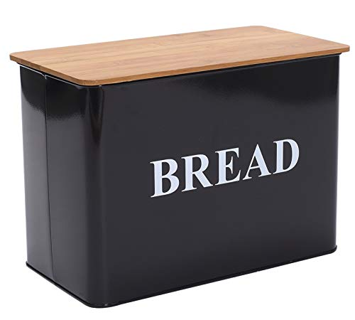 Xbopetda Bread Box with wooden Lid, Crackers - Bread Containers and Boxes Large Space Saving Cream Vertical Bread Box Holds 2 Loaves -Black