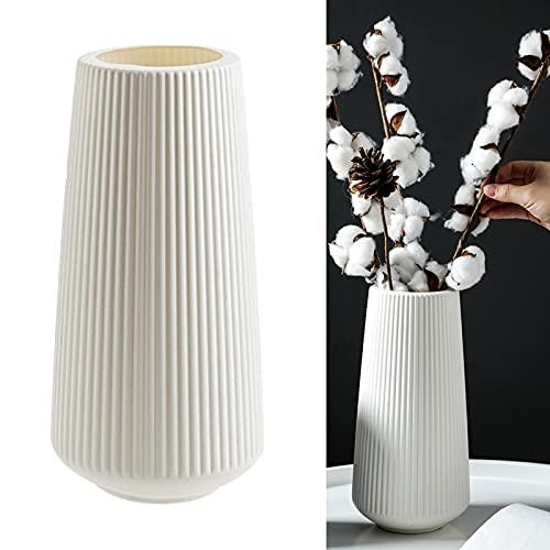 LiuliuBull Nicht zerbrechliche Kunststoff-Blumenvase-Dekoration-Desktop-Blumen-Topf-Korb-Dekoration (Color : White Style 1)