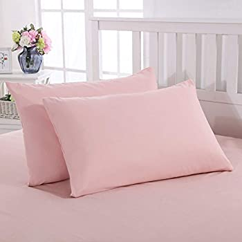Mohap Pillowcase 2 Pack Pillow Protectors Covers Super Soft and Durable Double Brushed Microfiber Plush Experience Breathable Pink Queen