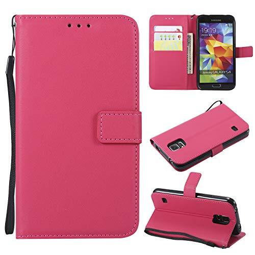 TTUDR Galaxy S5 Premium Leder Flip Schutzhülle [Standfunktion] [Kartenfächer] [Magnetverschluss] lederhülle klapphülle für Samsung Galaxy S5/G900F - TTMS020400 Rosa Rot