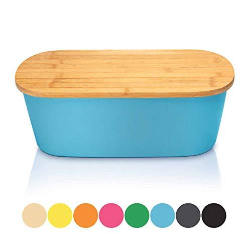 bambuswald© Brotbox mit integriertem Schneidebrett 38x21,5x12 cm - Brotdose | Brotkasten für Croissants, Brot o. Brötchen | Brotbehälter mit Küchenbrett | Brotbrett Blau