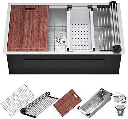 X Home 33x19 Inch Undermount Kitchen Sink Stainless Steel Kitchen Workstation Sink 16 Gauge product image
