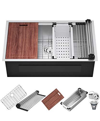 X Home Undermount Kitchen Workstation Sink, 33 x 19 Inch Stainless Steel Sink, 16 Gauge Single Bowl with All Sink Accessories