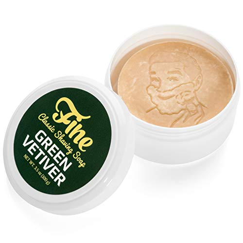 Mr Fine Green Vetiver Shave Soap Tub - Triple Milled Tallow Shaving Soap Puck For Men - A Wet Shavers Favorite