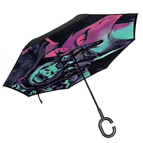 NR Finger Spiel Auto-Rück Umbrella Double Layer UV-Schutz-windundurchlässiges Prevent Dripping Hands Free Inverted Sonne Regen Regenschirm