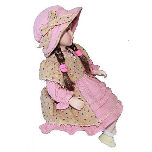 40cm Vintage Elegante Porzellan Puppe Mädchenpuppe im Kleidung Sammler Spielzeug Dekoration - E