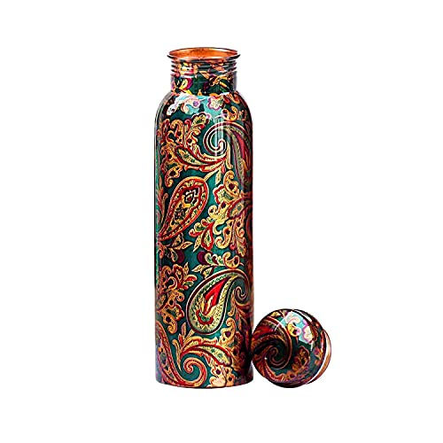 KC Pure Copper Designer Water Bottle with Advanced Leak Proof Protection and Joint Less, Ayurveda and Yoga Health Benefits with Lacquer Coating (1000ml, 1Unit)