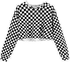 KunLunMen Kids Crop Tops Girls Sweatshirts Long Sleeve Plaid Hoodies (10-12Years/Height:55in, Black)