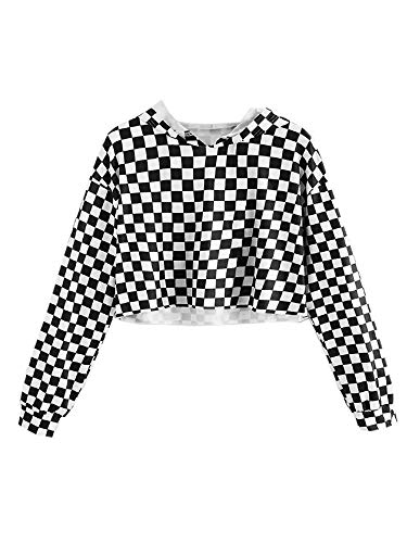 KunLunMen Kids Crop Tops Girls Sweatshirts Long Sleeve Plaid Hoodies (10-12Years/Height:55in, Black)