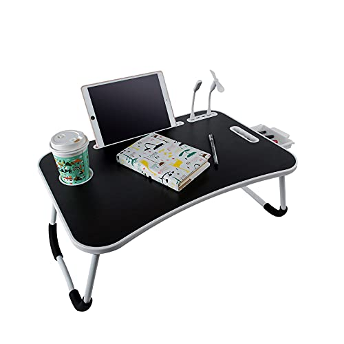BigTron Laptop betttisch,Schreibtisch, faltbares, tragbares laptoptisch mit Getränkehalter/Aufbewahrungs schublade/4 USB Anschluss Laptop Tisch für Bett/betttablett/Tische/Sofa (Schwarz)