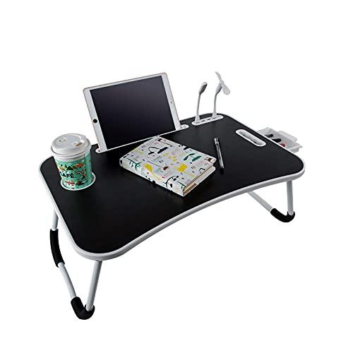 BigTron Escritorio portátil plegable, portátil, con soporte para tazas, cajón de almacenamiento, 4 puertos USB para lectura, escritura, trabajo (negro)