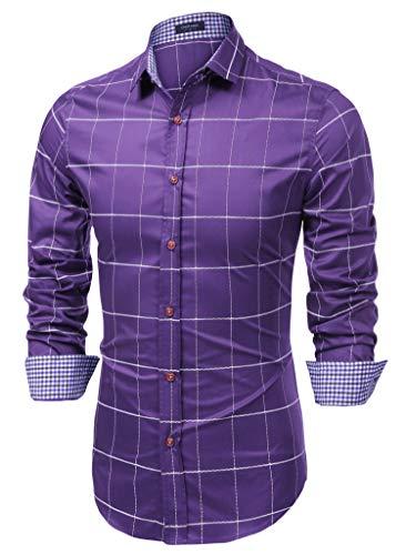 COOFANDY Men's Fashion Long Sleeve Plaid Button Down Shirts Casual Dress Shirt Purple