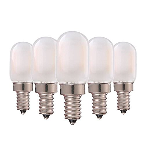 Genixgreen LED-Kerzenleuchter, Milchglasabdeckung, 1W T22 E14 Kerzenleuchter Vintage-Röhrenform Nachtlichtbirne Warmweiß 2700K, 10 Watt Äquivalent Nicht dimmbar, 5er-Pack