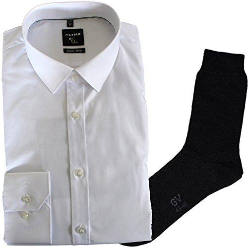 OLYMP Herrenhemd No6 six, super Slim, Urban Kent, weiß, Extra Langer Arm 69cm + 1 Paar hochwertige Socken, B&le
