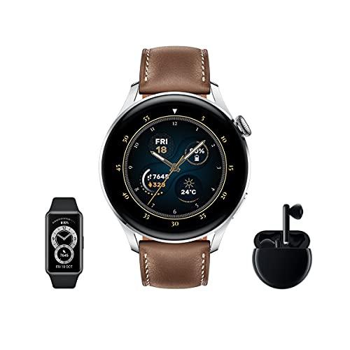 HUAWEI Watch 3 Classic + Freebuds 3 Negro + Band 6 - Smartwatch 4G con pantalla táctil 1.43'' AMOLED, eSIM para llamadas telefónicas sin móvil, 3 días de batería, 24/7, Correa de cuero Marrón