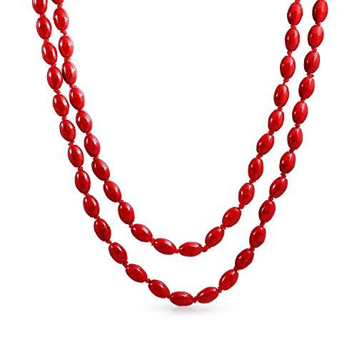 Bling Jewelry Red Interminable Larga Capa Anudadas Oval 8Mm Capa Teñidas Rojo Comprimido Cordón Collar Turquesa Mujer 46 Pulgadas