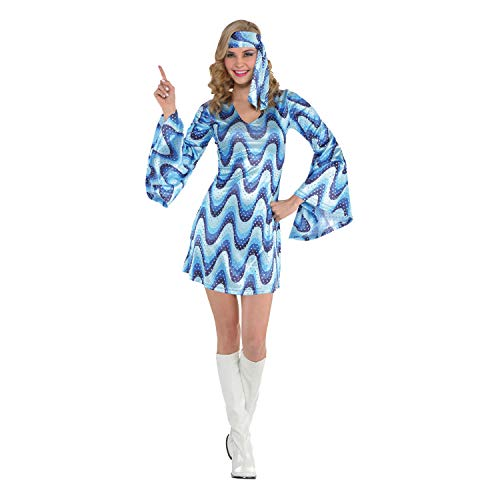 amscan- Blue Disco Lady Juego de Disfraces, Multicolor, Adult Size 14-16 (847828)