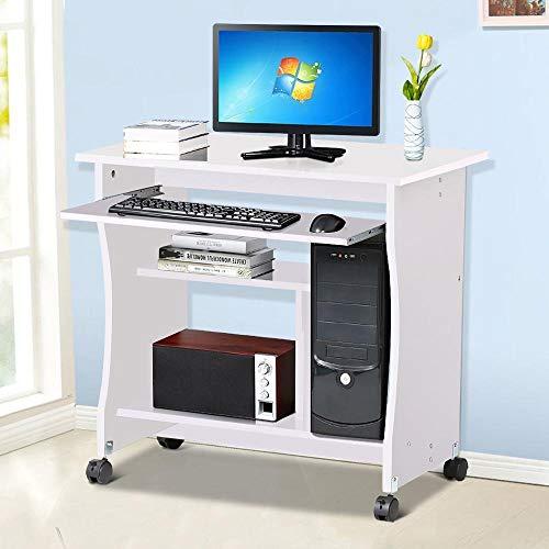 YANGSANJIN Computer Bureau, Hout Kleine Computer Bureau Trolley Winkelwagen PC Laptop Workstation met Schuiftoetsenbord Lade en Opslag Planken op Wielen Wit