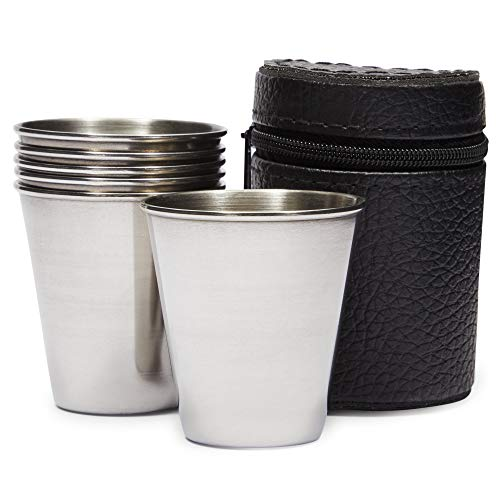 Stainless Steel Shot Glasses with Leather Case 70 ml 23 oz 6 Pack
