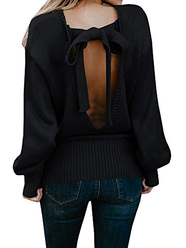 Geckatte Womens Sexy Backless Long Sleeve Loose Knitted Sweater Pullover Jumper (X-Large, Black-1)