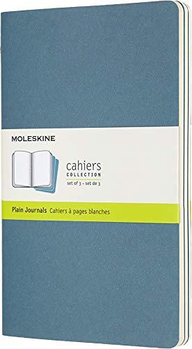 Moleskine - Cahier Journal Cuaderno de Notas, Set de 3 Cuadernos con Páginas , Tapa de Cartón y Cosido de Algodón Visible, Color Azul Teal