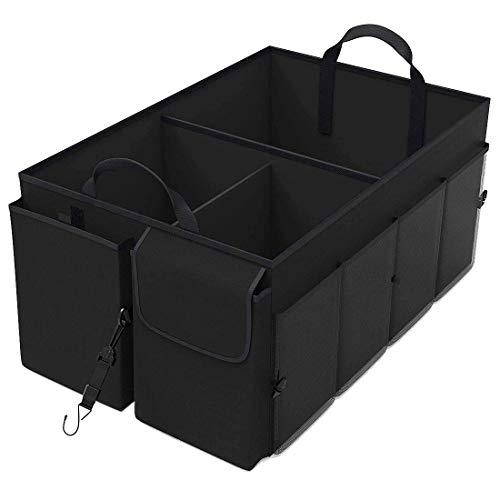 Gaoominy Caja de Almacenamiento de VehíCulos Organizador de Almacenamiento de Maletero de AutomóVil - Compartimiento MúLtiple Plegable - Correas de SujecióN Ajustables (Negro)