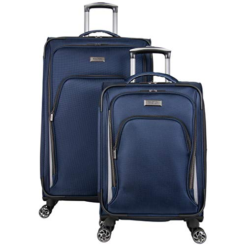 "Kenneth Cole Reaction Cloud City 2-Piece 20' Carry-On & 28"" Check Size Lightweight Softside Expandable 8-Wheel Spinner Travel Luggage Set, Navy"