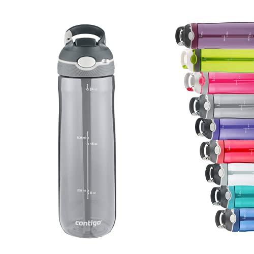 Contigo Unisex Erwachsene Trinkflasche Ashland Autospout mit Strohhalm große BPA-freie Kunststoff Wasserflasche, auslaufsicher, für Sport, Fahrrad, Joggen, Wandern, 720/1200 ml, Smoke, 720 ml