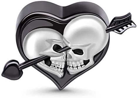 GNOCE Skull Lover Heart Charm Bead Sterling Silver Arrow Through The Heart Skull Charm Bead product image