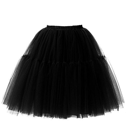 iMixCity Falda Tul Princesa Falda del Doble 50s Vendimia Traje Falda Disfraz Mujer Enagua Oscilación Tutú Organza Falda Ballet Pettiskirt Vestido Rockabilly 6 Capas
