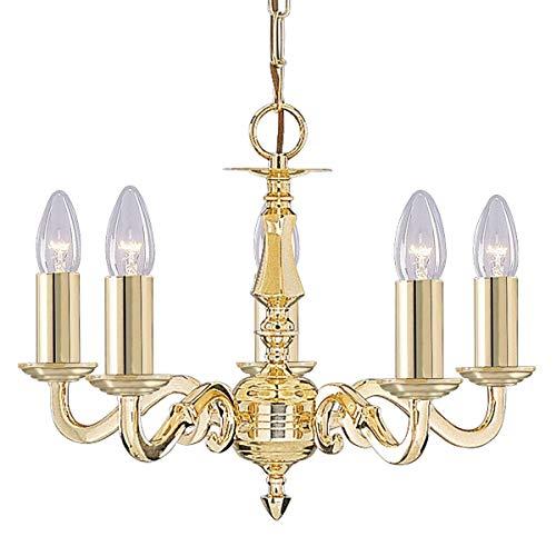 SEARCHLIGHT 5 lámpara de latón pulido con montaje para vela sin cristal conjunto de