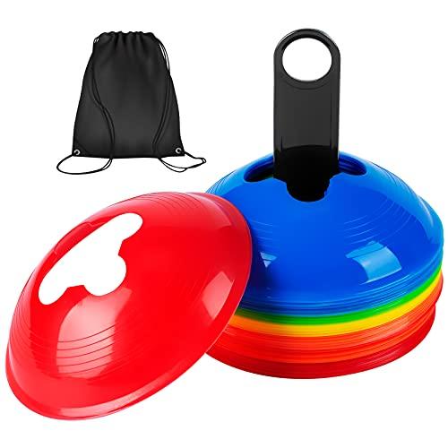 Wskderliner 5 Farben Hütchen Kegel Slalom Training Markierungskegel Beweglichkeitskegel für Skateboard Fußball 25 Stück