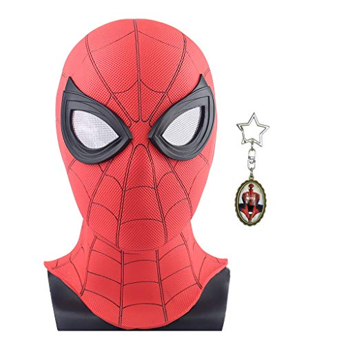 yacn Máscara de Spider-Man Replica para lejos de casa 2019-Led Spider Man Full Head Mask Adult Red con Ojo de Malla (Kids PVC Mask)