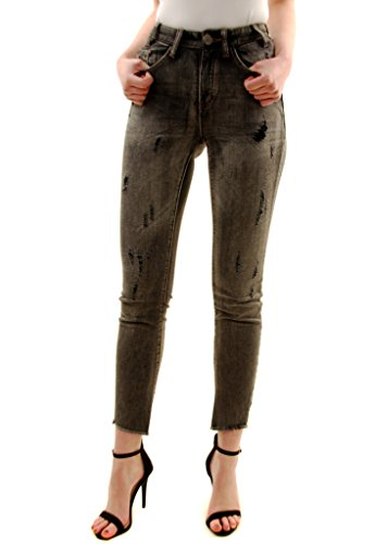One Teaspoon Donna Nero Heart Scallywags Jeans Dimensione 24 Gray
