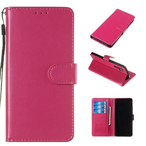 Capas para Xperia XA1 Plus de couro PU carteira compartimentos para cartão de identificação fecho magnético flip alça de mão capa à prova de choque para Sony Xperia XA1 Plus – Rosa vermelha