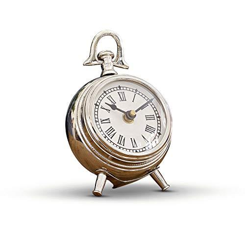 Loberon Uhr Coraten, Aluminium, Glas, H/B/T ca. 12.5/10.5/5.5 cm, Silber