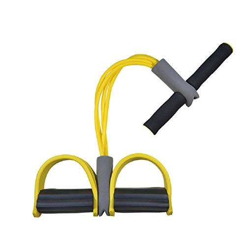 SHDEXIA Pedal Pull Rope Sit Up Pull Ropes Yoga Fitness gymnas Equipment Tic Foot 4 Tube Strong Fitness Resistance Band Attrezzo per Allenamento a Pedale in Lattice, Giallo