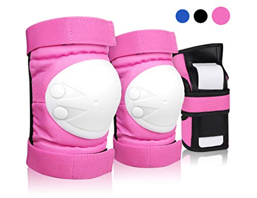 DEKINMAX Knee Pads for Kids & Youth Protective Gear Set, Knee Pads Elbow Pads with Wrist Guards 3 in 1 for Biking, Skating, and Rollerblading Scooter (Pink, M)