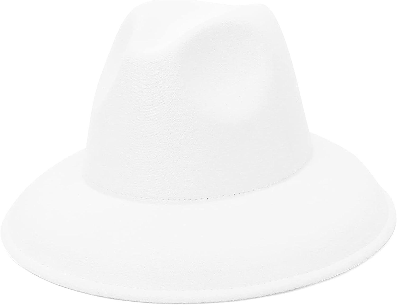 GEMVIE Women & Mens Fedora Hats Classic Wide Brim Panama Jazz Hat Solid Color Felt Gangster Fedora Hat