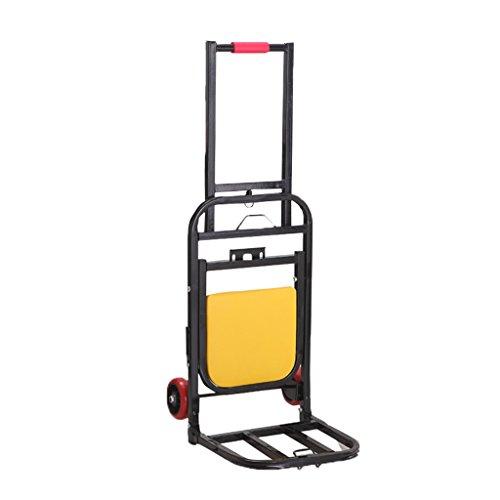 Qi Peng Hierro Art Trolley con Asiento Pequeño Remolque Camión de Mano Portátil Puede Sentarse Kola Equipaje Carro Barra de Tracción Coche 70 Kg Carga (Color : Rojo)