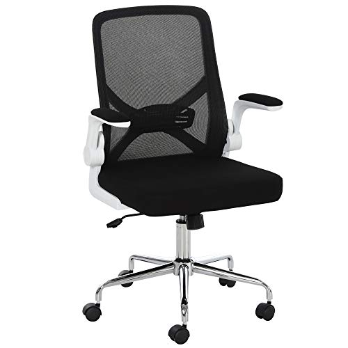 Vinsetto Mesh Swivel Office Chair with Flip-Up Arm, Lumbar Support, Home Task High Back Chair Adjustable Height, Black