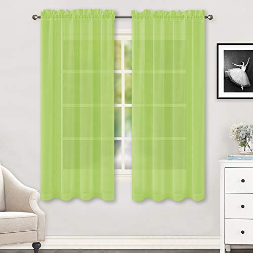 """HUTO Lime Green Sheer Curtains 63 Inch Length for Bedroom Rod Pocket Sheer Window Panels for Nursery Living Room, 52"""" W x 63"""" L,Set of 2"""