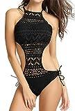 Ocean Plus Donna Costume Intero Pizzo Capestro Imbottito Costumi da Bagno Collo Alto Moda Mare (M/34, A-Nero)