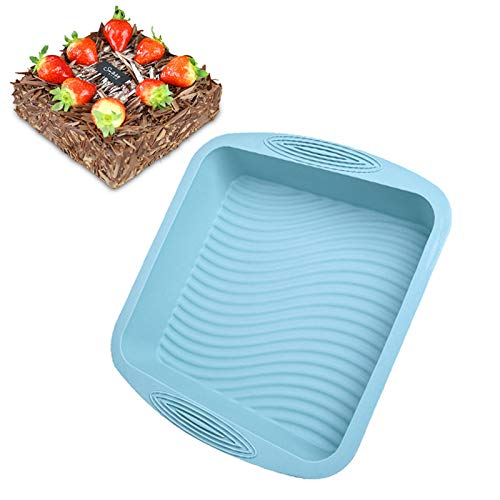 Square Cake Mold Pan Silicone Bakeware Set Homemade Brownie,Cake,Bread,Nonstick Silicone Wave pattern Baking Mold By Plaifey Kitchen Baking Tools (10.4x9.7x2.2 Inch) (Blue)