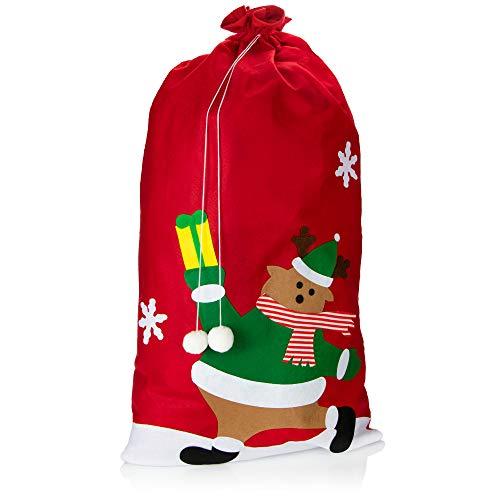 com-four Sacco Regalo XXL per Natale con Motivo Renna - Sacco di Babbo Natale da riempire - Sacco di Natale per Babbo Natale