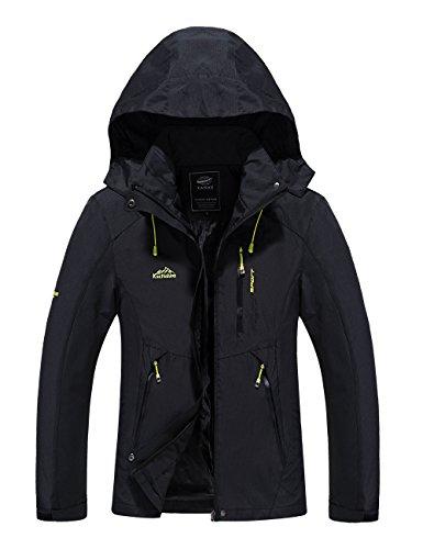 Tyraptor Damen Outdoorjacke Wasserdicht/Winddicht/Atmungsaktiv Funktionsjacke Jacke mit abnehmbrer Kapuze Schwarz