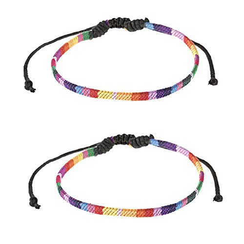 Paquete de 2 pulseras de tobillo LGBT, arcoíris LGBT Pride Gay Unisex Pulsera Bisexual Trans Rope Love Gifts, Pulseras para parejas gay, Pulseras para lesbianas Pride